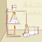 pic of beaker  - Illustration of chemical beaker and flask for science laboratory and chemistry research - JPG
