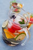picture of sangria  - Refreshing white sangria (punch) with fruits picnic idea