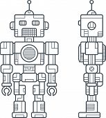 stock photo of draft  - Draft a Vintage Robot in Simple Line Style Front and Side Views - JPG