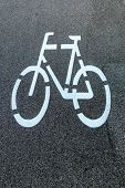 stock photo of traffic rules  - marking a bike trail in linz - JPG