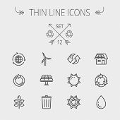pic of biodiesel  - Ecology thin line icon set for web and mobile - JPG
