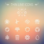 stock photo of recycling bin  - Ecology thin line icon set for web and mobile - JPG