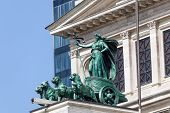 image of panther  - Erato in a quadriga with panthers statue at the Alte Oper building in Frankfurt am Main Germany - JPG