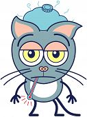 Cute gray cat feeling unmotivated and sick poster