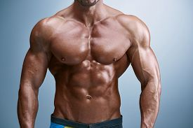 picture of body builder  - torso of attractive male body builder on blue background - JPG
