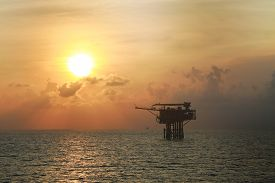 stock photo of production  - Offshore oil and gas production and exploration business - JPG