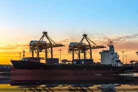 picture of transpiration  - bic commercial ship in importexport pier use for vessel transport business industry and cargo freight shipping port - JPG