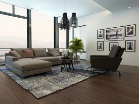 picture of couch  - Modern cozy living room interior with gray couch or sofa and carpet on a wooden parquet floor - JPG