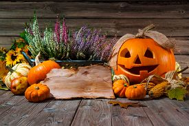 stock photo of halloween  - Halloween still life with pumpkins and space for your Halloween holiday text - JPG