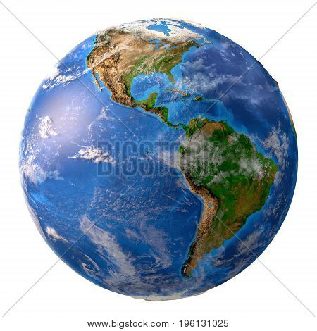 poster of Planet earth. High detailed satellite view of the Earth and its landforms focused on the American continent isolated on white background. Elements of this image furnished by NASA - 3D illustration.