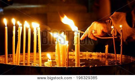 Burning candles in