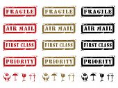 picture of first class  - Three different colored Grungy Shipping Labels and Icons - JPG