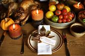 Tomatoes Roasted Turkey Thanksgiving Table Setting Concept poster