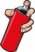 image of spray can  - Cartoon hand holding a spray can - JPG