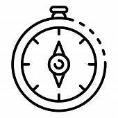 Navigation Compass Icon. Outline Navigation Compass Vector Icon For Web Design Isolated On White Bac poster