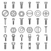 Screw-bolt Icons Set. Outline Set Of Screw-bolt Vector Icons For Web Design Isolated On White Backgr poster