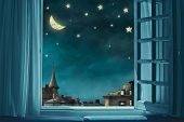 Surreal Fairy Tale Art Background, View From Room With Open Window, Night Sky With Moon And Stars, C poster