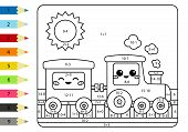 Coloring Page By Addition And Subtraction Numbers. Vector Kawaii Train And Wagon. Math Worksheet For poster