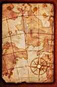 picture of treasure map  - old map with a compass on it - JPG