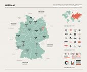 Vector Map Of Germany.  High Detailed Country Map With Division, Cities And Capital Berlin. Politica poster