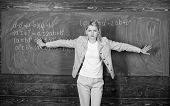 Starting To Learn More. Teacher On School Lesson At Blackboard. Woman In Classroom. School. Home Sch poster