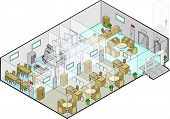 image of reception-area  - Vector Isometric illustration of the ground floor entrance lobby of a hospital with waiting room - JPG