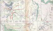 stock photo of rebs  - Map of battles of Fredericksburg - JPG