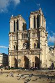 PARIS, FRANCE, MARCH 02 2015: Front view of Cathedrale Notre Dame de Paris in Paris, France. poster