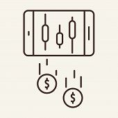 Dividends Line Icon. Graph On Phone Screen, Money, Cash Falling From Smartphone . Trade Concept. Vec poster