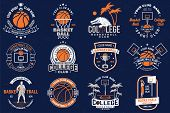 Set Of Basketball Club Badge. Vector Illustration. Graphic Design For T-shirt, Tee, Print Or Apparel poster