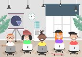 Keep Calm In Office Concept, Young Characters Sitting With Laptops.flat Cartoon Design poster