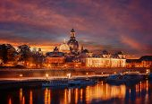 Amazing Colorful Scene During Sunset  At The Old Town In Dresden, Saxony, Germany. Famouse Sights: F poster