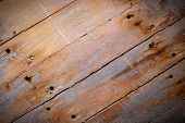 Rustic brown wood planks background with vignetting effect poster