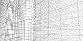 3d Illustration Architecture Building Perspective Lines, Modern Urban Architecture Abstract Backgrou poster
