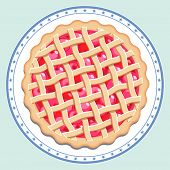 Cherry pie on a plate