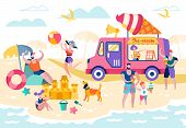 Food On Beach Or Open Pond Vector Illustration. People Sunbathe And Relax On Beach. Ice Cream Machin poster