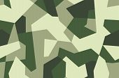 Seamless Geometric Camouflage Pattern. Military Texture With Debris Shape. Dark Green, Khaki Brown.  poster