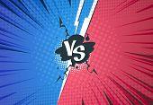 Versus Comics Background. Superhero Pop Art Battle, Cartoon Halftone Style, Retro Vs Challenge Templ poster
