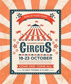 Circus Poster. Carnival Vintage Old Banner Frame, Magic Show Greetings Card, Retro Invitation Card.  poster