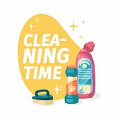 Template Banner With Chemical Battle Product For House Cleaning. Layout For Cleaning Service With Ho poster
