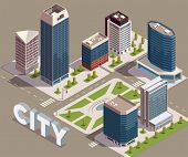 City Skyscrapers Isometric Composition With View Of City Block With Modern Tall Buildings Streets An poster