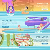 Water Park Banners. Aqua Games Funny Pleasure For Kids At Pool Playground With Water Slide And Rubbe poster