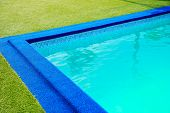 Swimming Pool At The Edge Of The Pool Is Artificial Green Grass. In The Summer And Clean Water Is Bl poster