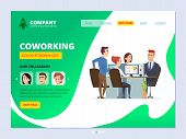 Teamwork Landing. Coworking Concept Web Page Layout Business Workspace Managers Male And Female Offi poster