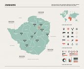 Vector Map Of Zimbabwe.  High Detailed Country Map With Division, Cities And Capital Harare. Politic poster