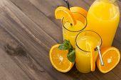 Orange Juice , 2 Glass Of Juice With A Piece Of Orange And Mint Sprigs, A Bottle Of Orange Juice, Ha poster