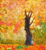 Original Oil Painting Lonely Autumn Tree, Fallen Leaves, Painting On Canvas. Impasto Artwork. Impres poster