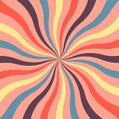 Bright Retro Background With Wavy Sunshine In Modern Colors Of 2019. Retro Starburst Style Spiraling poster