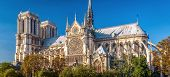 Notre Dame De Paris In Summer, France. It Is One Of The Top Landmarks Of Paris. Scenic Panorama Of T poster