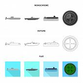 Vector Illustration Of War  And Ship Sign. Collection Of War  And Fleet Stock Vector Illustration. poster